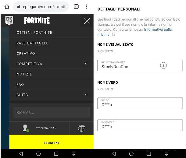 Cambiare nome Fortnite da smartphone