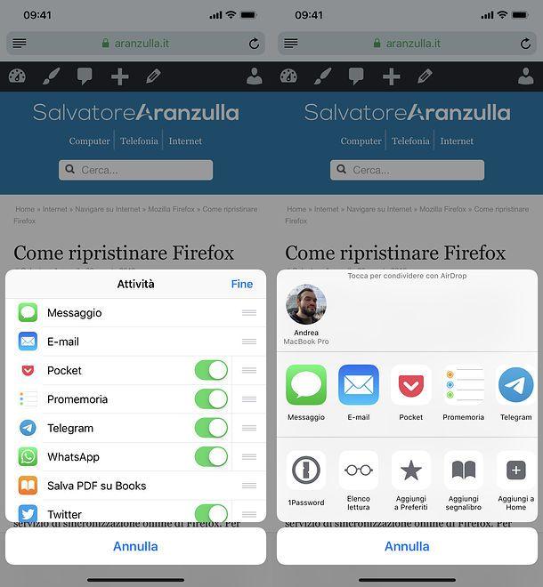 Menu di condivisione di Safari su iOS