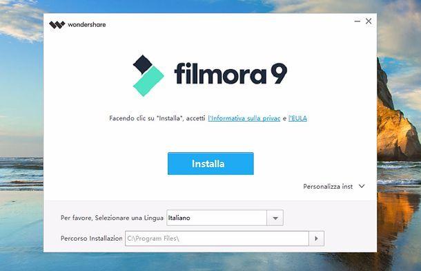 Installazione Filmora su Windows
