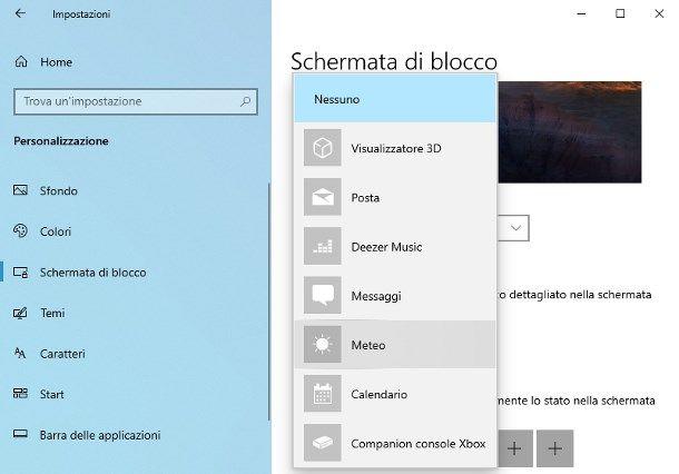 Come mettere il meteo nella schermata di blocco Windows 10