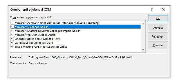 Componenti aggiuntivi Outlook