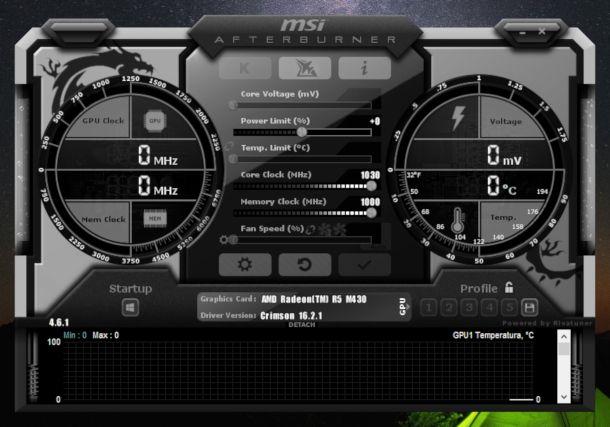 Schermata di MSI Afterburner