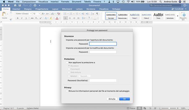 Come criptare un file Word per Mac