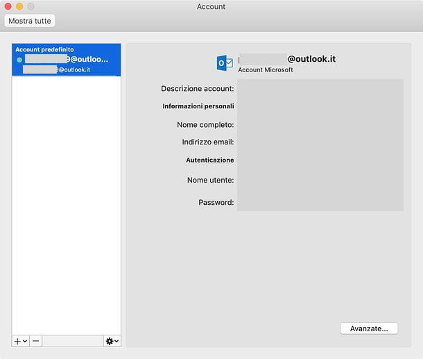 Gestione account Outlook per Mac