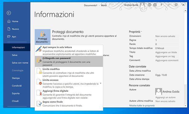 Come criptare un file Word su Windows