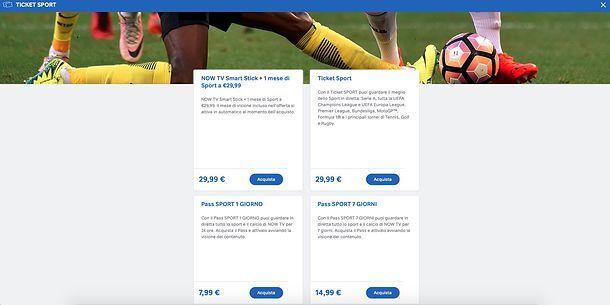 Prezzi offerta Sport NOW TV