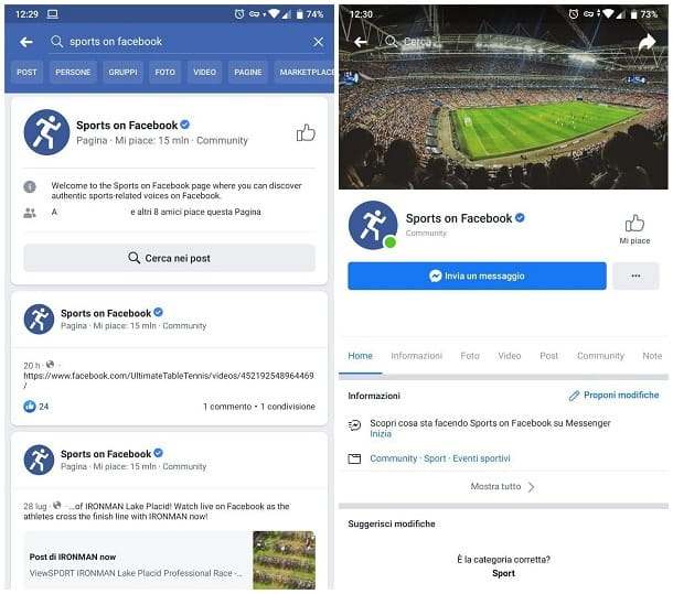 Sports on Facebook