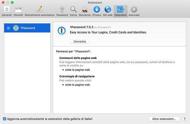Estensioni di Safari su Mac