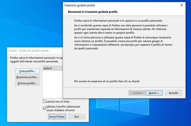 Creazione profilo Firefox
