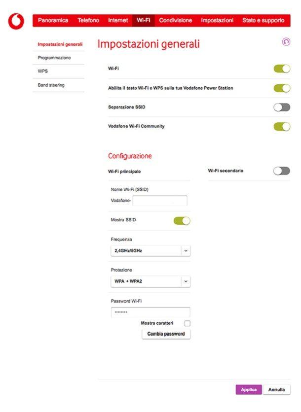 Configurare rete WiFi Vodafone Station