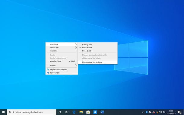 Come nascondere icone desktop su Windows