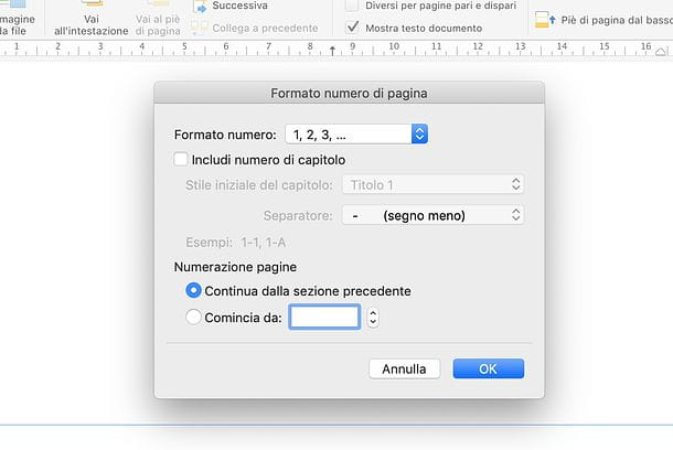 Proprietà numeri di pagina in Word