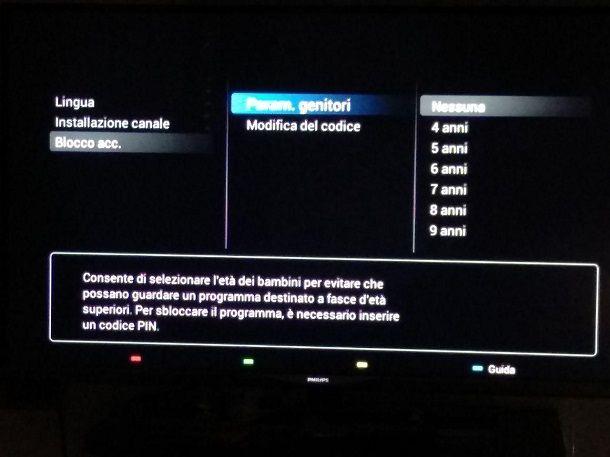 Sblocco canali televisore Philips