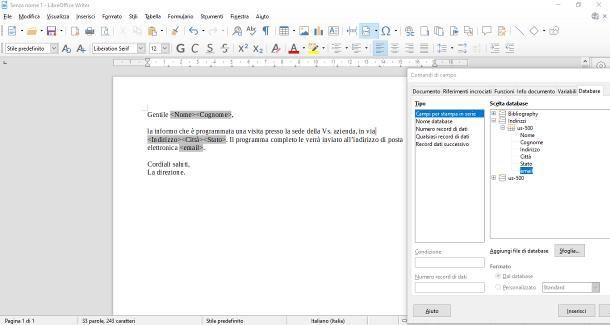 Come fare Stampa unione con LibreOffice