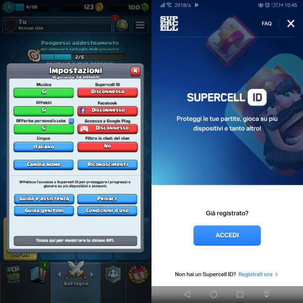 Connettersi a Supercell ID su Clash Royale