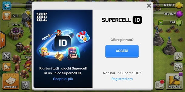 Connettersi a Supercell ID su Clash of Clans