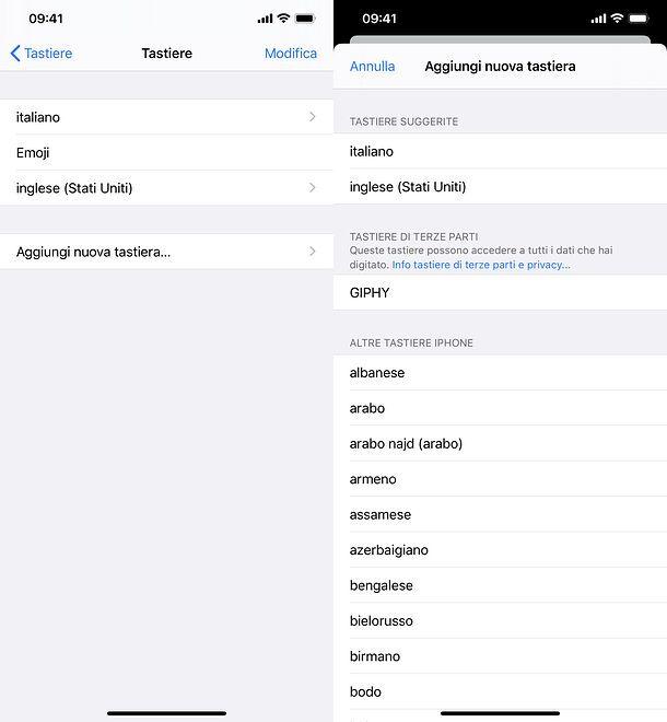 Come cambiare lingua tastiera su iPhone