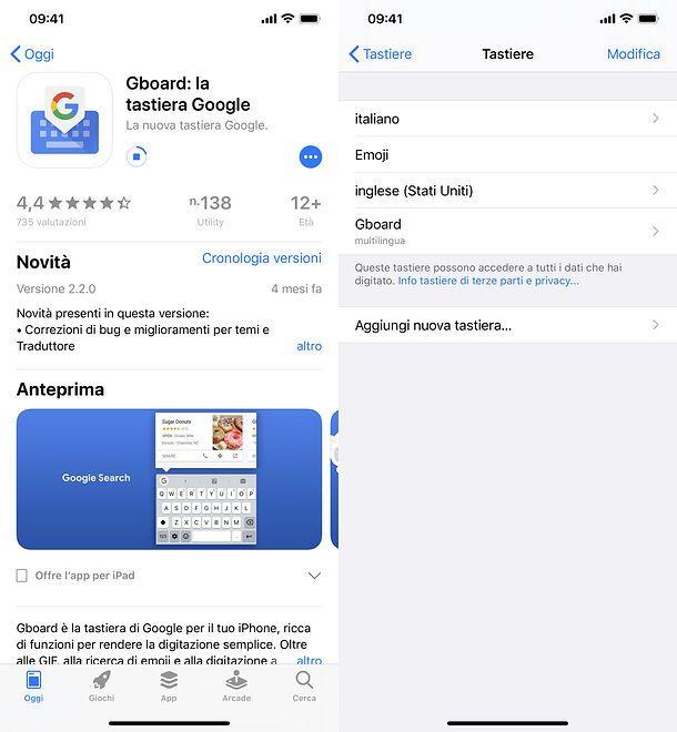 Impostazione Gboard su iPhone