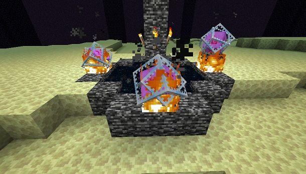 Posizionare i cristalli per evocare l'Enderdrago su Minecraft