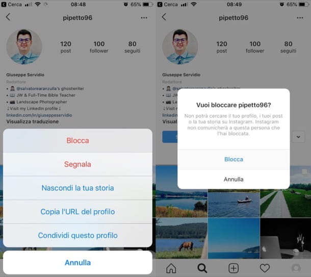 Come bloccare una persona su Instagram da mobile