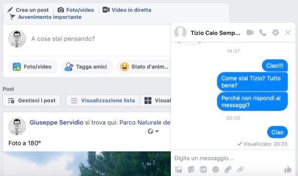 Vedere conferma lettura messaggi su Messenger da computer