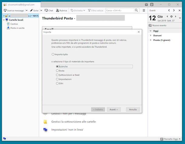 Importare contatti da Gmail a Thunderbird