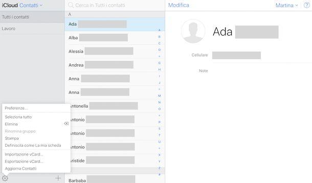 Importare i contatti da Gmail a iCloud