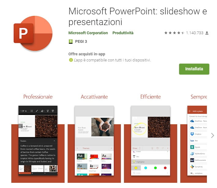 PowerPoint mobile per Android