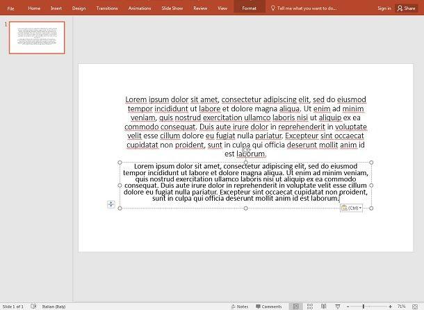 Formattare un testo in PowerPoint