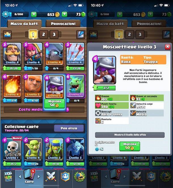 Migliorare carte Clash Royale