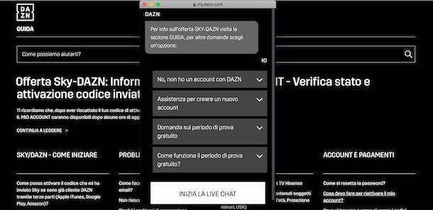 Contattare DAZN tramite chat