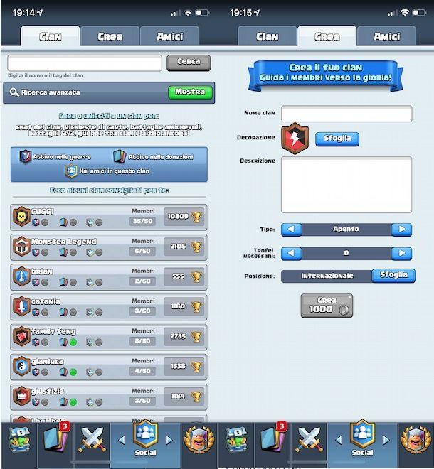 Creare clan su Clash Royale