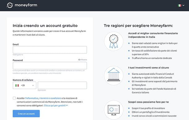 Signup su Moneyfarm
