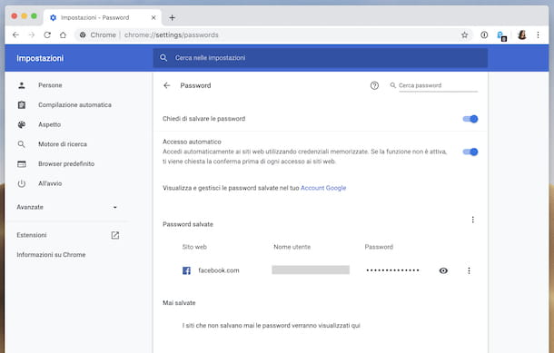 Password salvate Chrome
