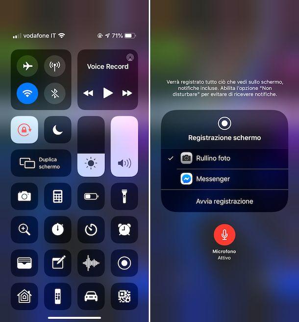 Registrazione schermo con audio su iOS