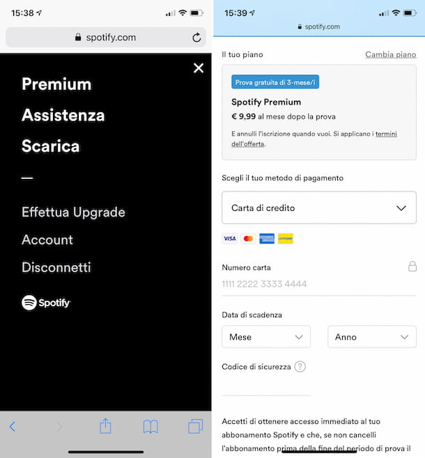 Attivazione di Spotify Premium da Safari su iPhone