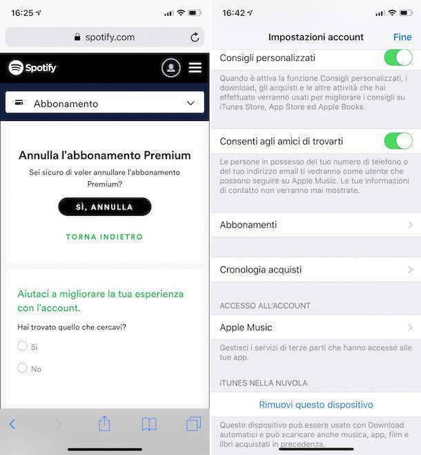 Disattivazione abbonamento Spotify Premium da iPhone