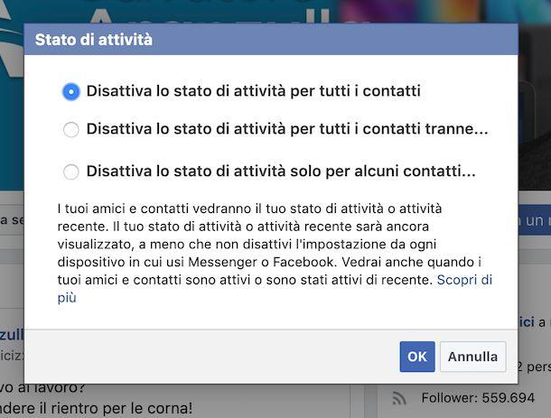 Disattivazione ultimo accesso Facebook