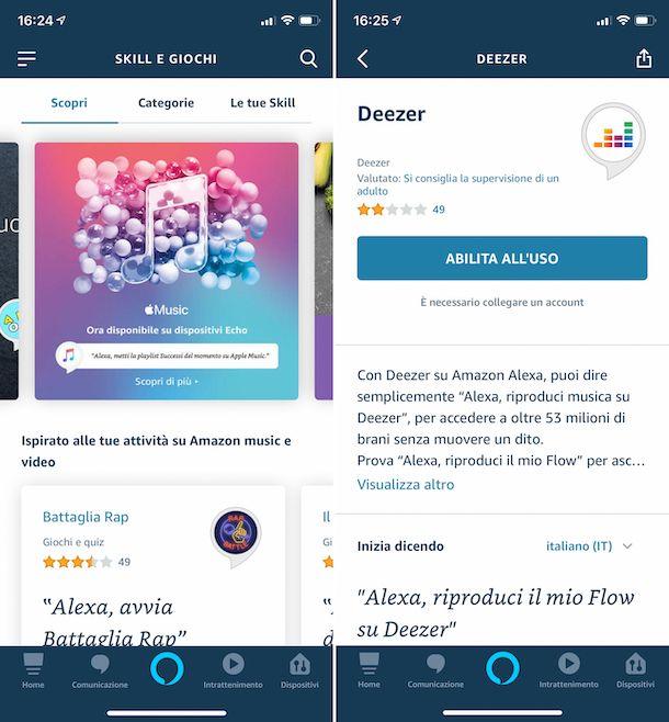 Impostazioni dell'app Alexa su iPhone per la riproduzione della musica in streaming