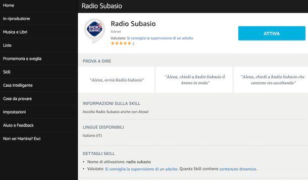 Skill radio su Alexa Web