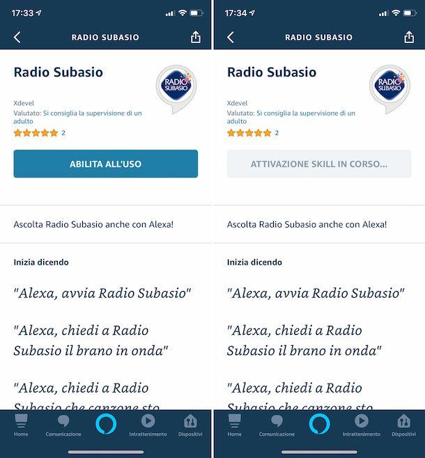 Skill radio sull'app Amazon Alexa su iPhone