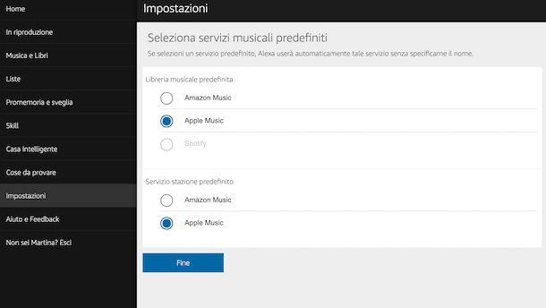 Impostazioni di Alexa Web per la riproduzione della musica in streaming