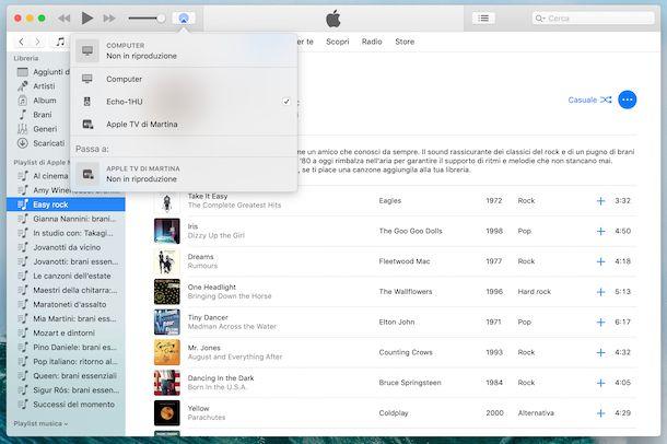 Riproduzione audio Bluetooth da iTunes ad Amazon Echo
