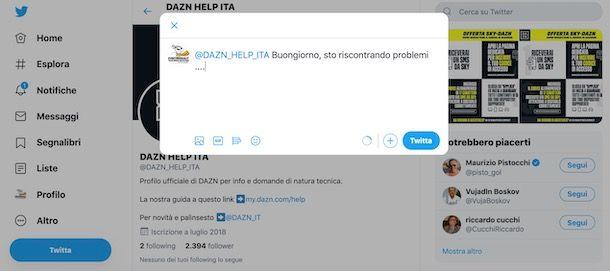 Assistenza DAZN tramite Twitter