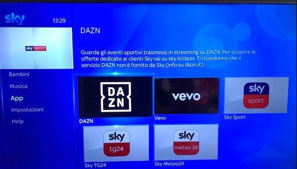 Come aggiornare decoder Sky per DAZN