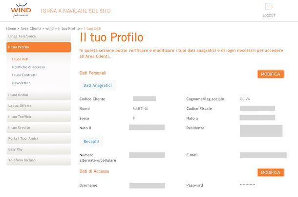 Area clienti online di Wind