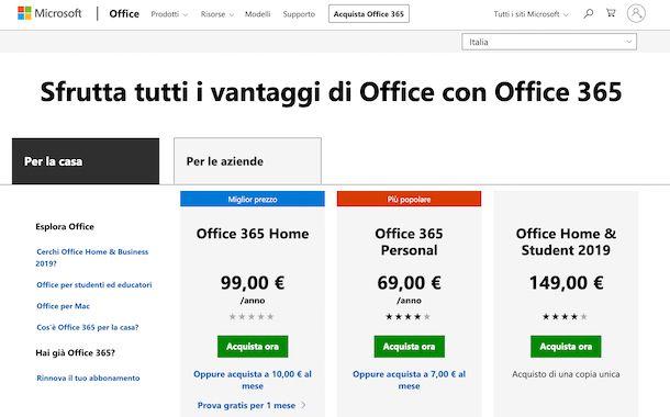 Sito Web Office 365