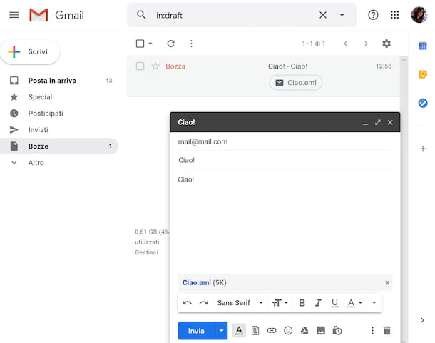allegare una mail con Gmail