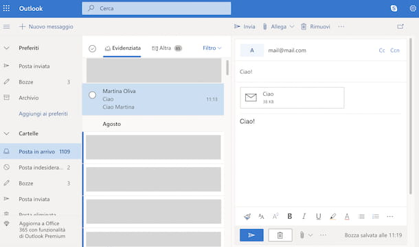 allegare una mail con Outlook.com