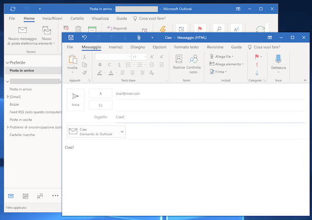 allegare una mail con Outlook
